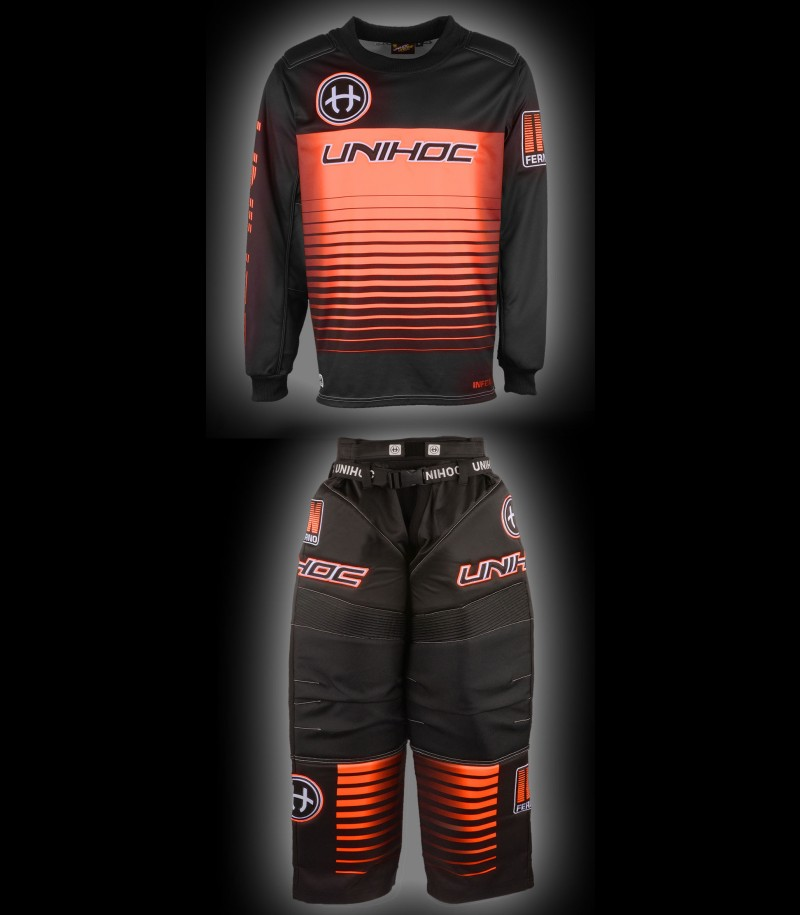 unihoc Goalieset Inferno Senior schwarz/neon orange