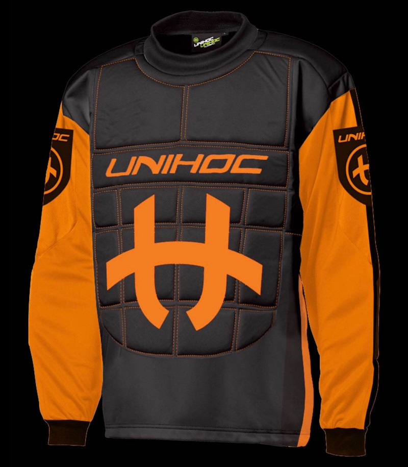 unihoc Torhüterpullover Shield Junior neon orange/schwarz